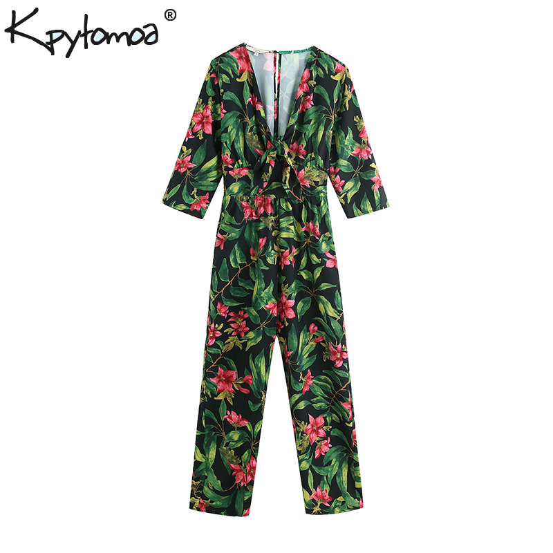 Vintage Stylish Floral Print Bow Tie Sashes Rompers Womens   Jumpsuit   2019 Fashion Elastic Waist Ankle Pants Casual Bodysuit Femme