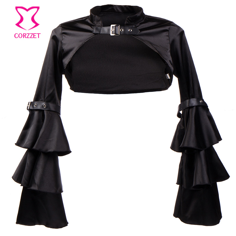 Black Butterfly Sleeve Satin Bolero Women Sexy Corset -5930