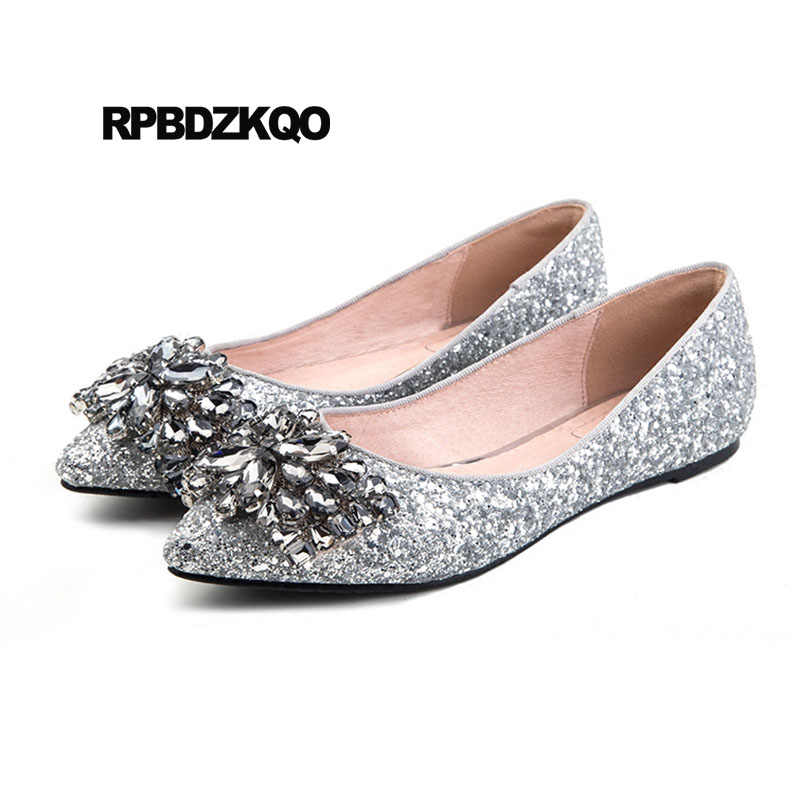 Slip On 12 44 Crystal Silver Women 11 Pointed Toe Glitter Dress Fur Large  Size Rhinestone 2e6fd22332f2