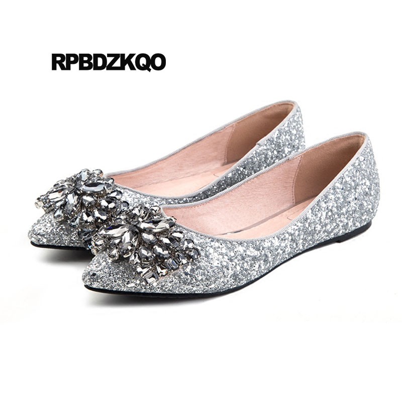 Slip On 12 44 Crystal Silver Women 11 Pointed Toe Glitter Dress Fur Large  Size Rhinestone Sequin Chinese Wedding Shoes Flats 0871f314b