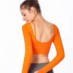 2018 autumn and winter new beauty back yoga clothes long-sleeved T-shirt women with chest