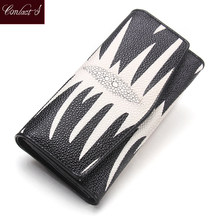 Hot! Brand Women Leather Wallets PearlFish Skin Long Wallet Ladies Leather Credit Card Clutch Wallets Female Phone Purses(China)