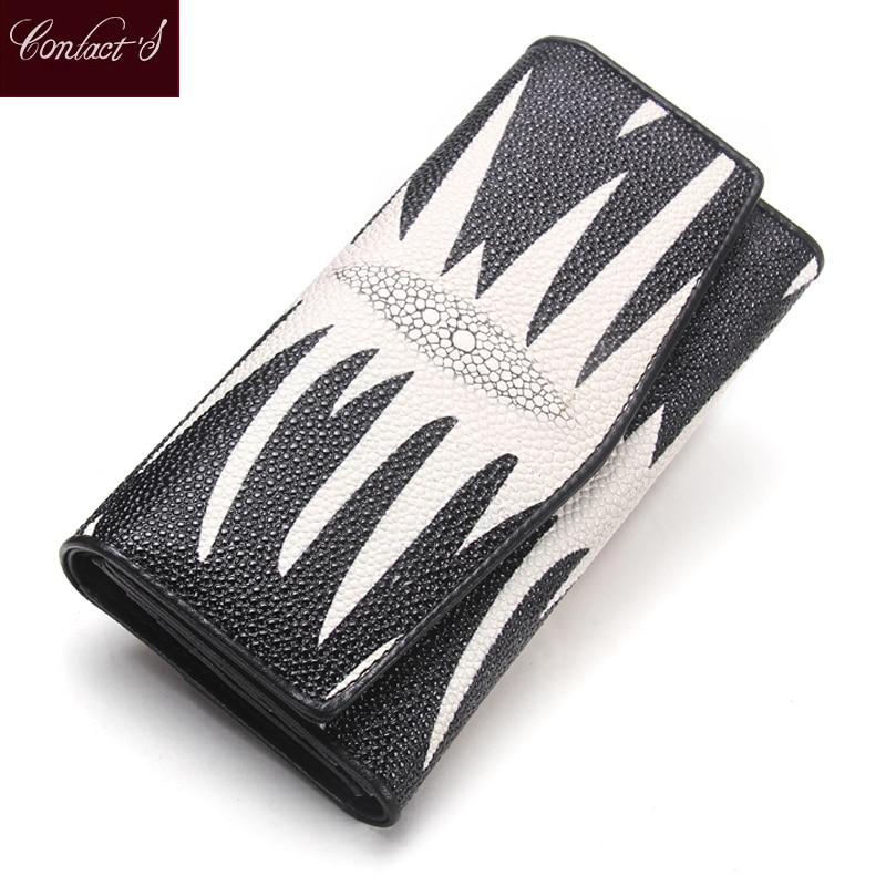 Varm! Brand Women Läder Plånböcker PearlFish Skin Lång Plånbok Ladies Läder Kreditkort Koppling Plånböcker Kvinna Telefon Purses