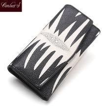 Hot! marke Frauen Geldbörsen PearlFish Haut Lange Brieftasche Damen Leder Kreditkarte Rot Kupplung Brieftasche Weibliche Telefon Geldbörsen
