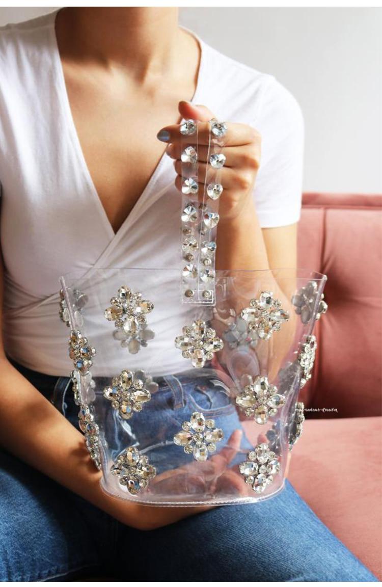 Bagaj ve Çantalar'ten Üstten Saplı Çanta'de Marka Rhinestone tasarımcı çantaları Ünlü Kadın Elmas İpli Kova omuzdan askili çanta Bling Bling Bayanlar Lüks Parti Çanta'da  Grup 1