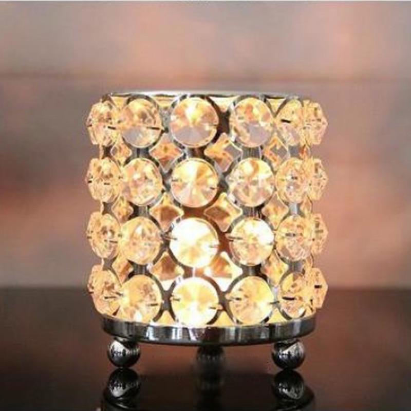 3pc / lot Kristalları olan yeni metal şamdan tutacaqlar gümüş - Ev dekoru - Fotoqrafiya 2