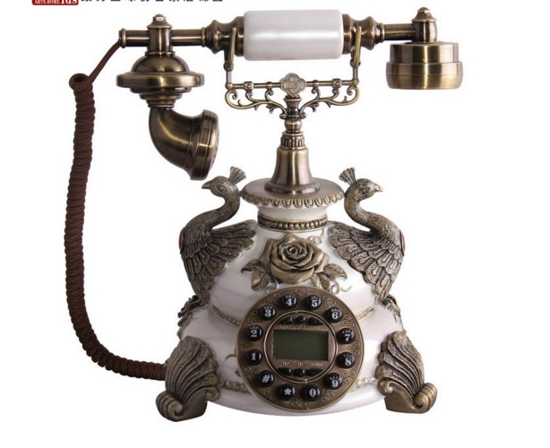 white old fashioned touchtone telephone vintage telephone/Handsfree ...