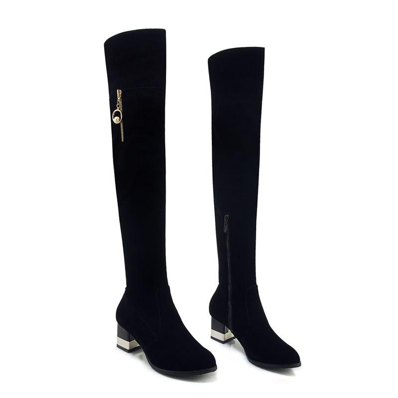 Hauts Noir Hiver Genou Automne Talons Le Rond Mode Taille Troupeau Bottes Bout De 2018 Sur Femmes 3343 Smeeroon Grande 8n0OmNwv