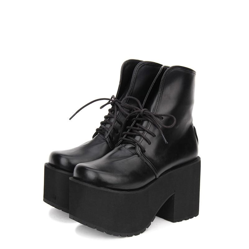 цена на Princess sweet punk shoes Custom Gothic Lolita round thick boots high heeled lace punk boots bottom Muffin women pu8353