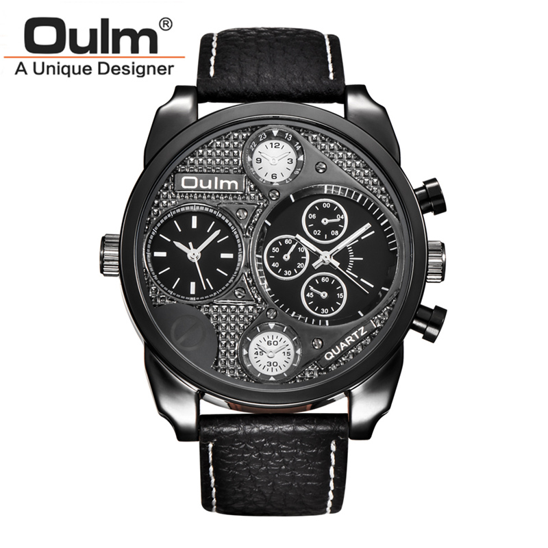 Oulm Watch Male Casual Leather Strap Quartz-watch Top Brand Luxury Men Sports Military Big Clock Mens Watches relojes hombre weide new men quartz casual watch army military sports watch waterproof back light men watches alarm clock multiple time zone