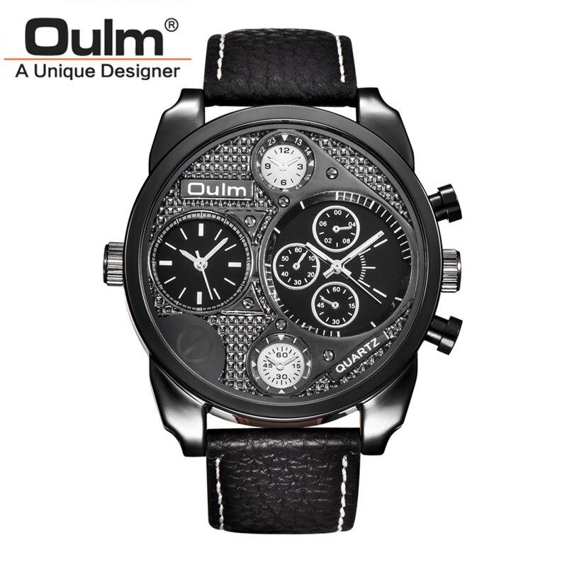 fbef09f0989 Relógios de Quartzo Pulseira de Couro Oulm Masculino Relógio Ocasional
