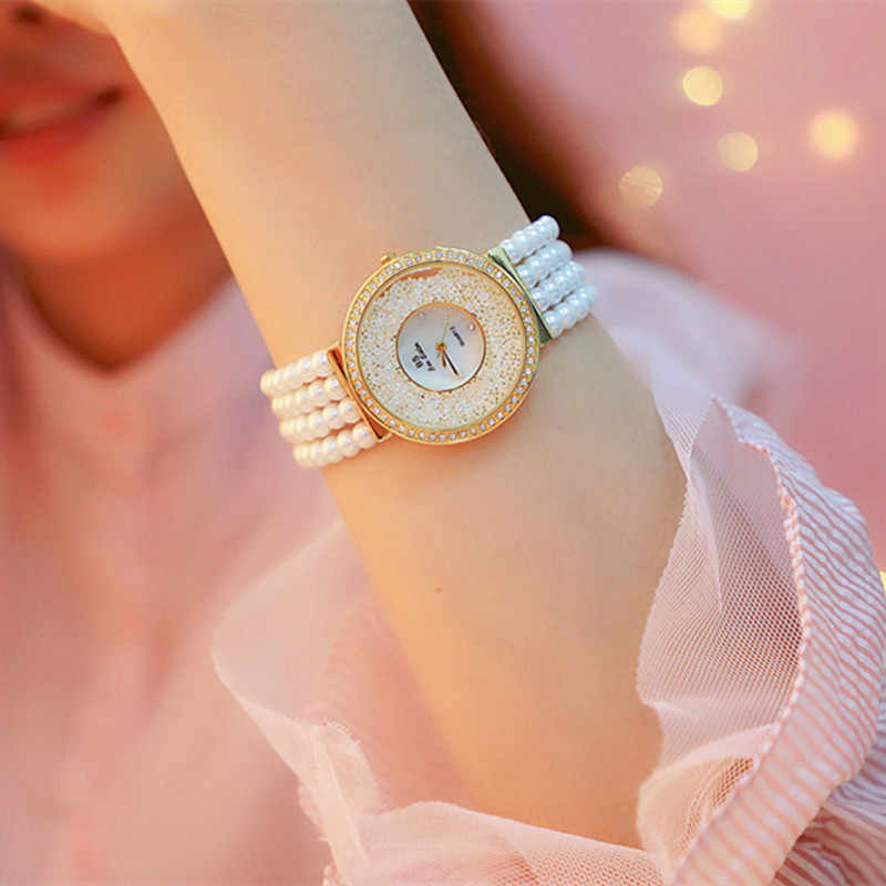 Relogio Feminino Top Brand Pearl Strap Casual Woman Watches Fashion ladies Watch Women Rhinestone Quartz watches Women Bracelet