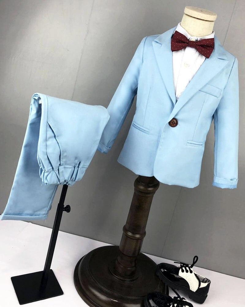 Enfants Blazer bébé garçons costume vestes 2019 printemps coton manteau + chemise + noeud papillon + pantalon ensemble garçon costume formel pour mariage vêtements pour enfants