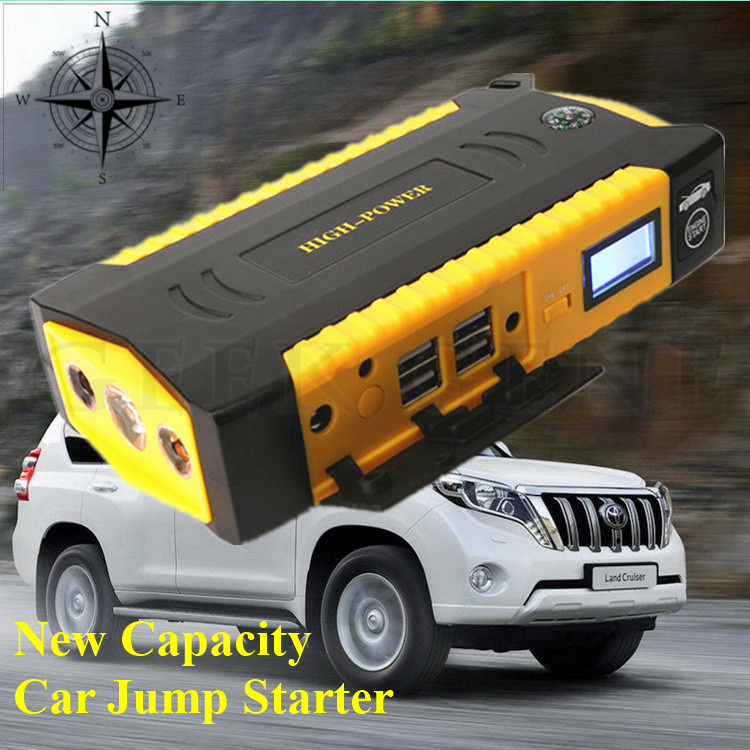 New High Capacity 12V Multi Function Car Jump Starter 4USB Power Bank Mini Compass SOS font