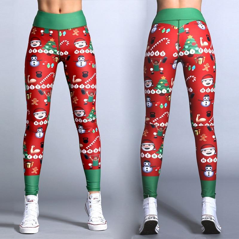 2019 Hayoha Christmas Printing Leggings Put Hip Elastic High Waist Legging Breathable Merry Christmas Pants 25