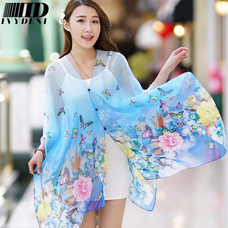 be66833cf691f 2017 Fashion Pareos For Women Soft Print Flowers Chiffon Silk Beach Wraps  Sarongs Summer Swimwear Cover