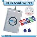 Frete grátis 10 PC NFC tag + ACR122U 13.56 MHZ Tags NFC RFID copiadora/IC card Reader & Escritor + 1 SDK CD + 2 Pcs UID (IC) cartões