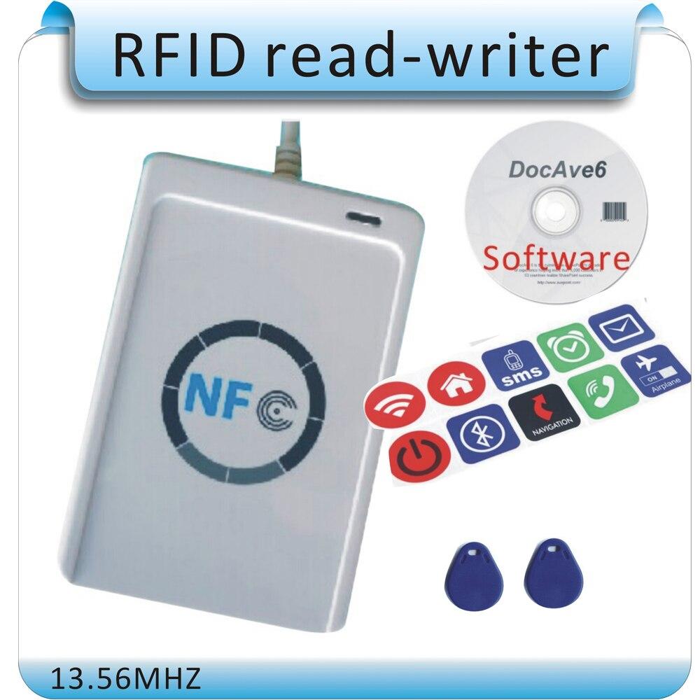 Livraison gratuite 10 PC NFC tag + ACR122U 13.56 MHZ NFC étiquettes RFID copieur/IC lecteur de carte et graveur + 1 SDK CD + 2 pièces UID (IC) cartes