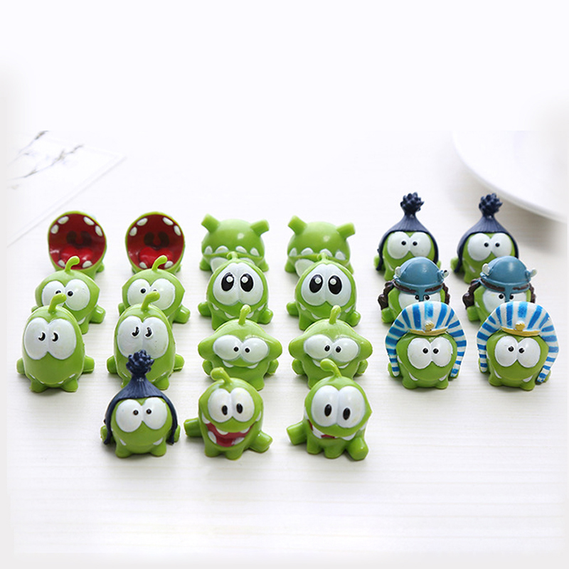 5pcs Set Cute om nom frog Resin Toys Cut the rope Action Figures Model cut the rope figure classic toys game Xmas Gifts Toys фигурка planet of the apes action figure classic gorilla soldier 2 pack 18 см