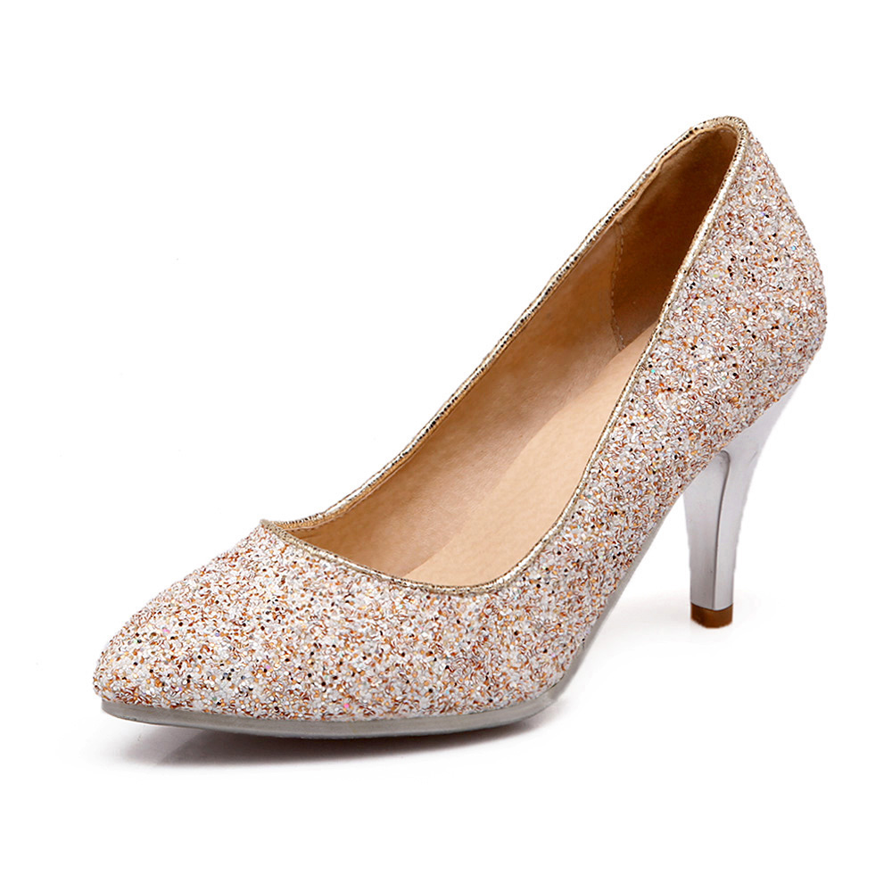 Plus size 34-43 NEW hot sale thin heel women pumps pointed toe sequin simple fashion high heels ladies dress shoes gold plus size 34 49 new spring summer women wedges shoes pointed toe work shoes women pumps high heels ladies casual dress pumps