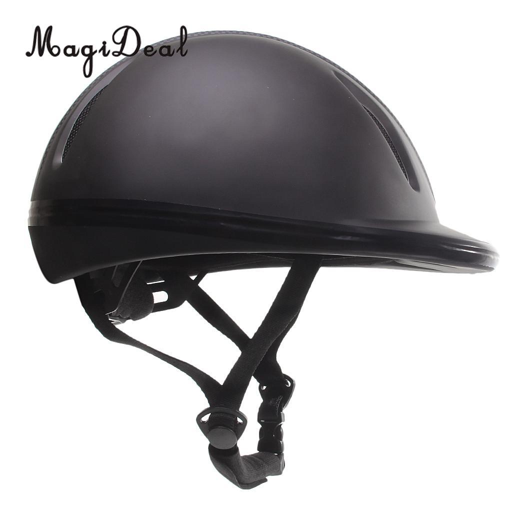New Adjustable Black Safety Equestrian Horse Riding Hat Helmet Adult M