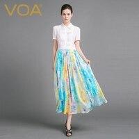 VOA 2018 новые летние короткий рукав шелк Для женщин платье рубашка плюс Размеры тонкий Повседневное Сращивание белый большой маятник Длинные