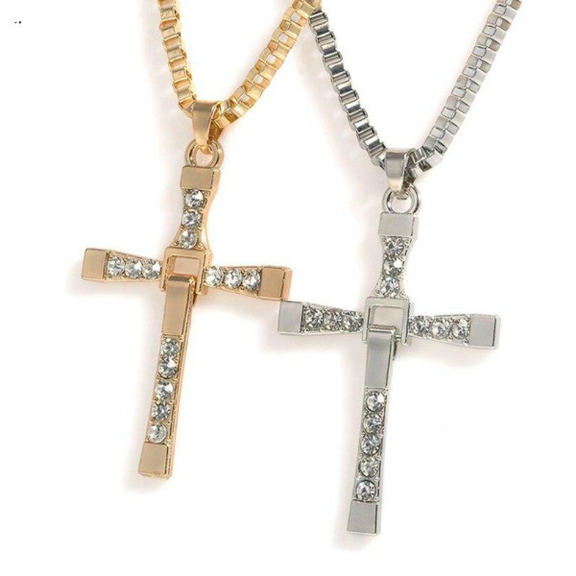 Kolye Promotion Collier Collares European And American Fashion Crystal Cross Men's Necklaces Pendants Maxi Steam Retro Necklace