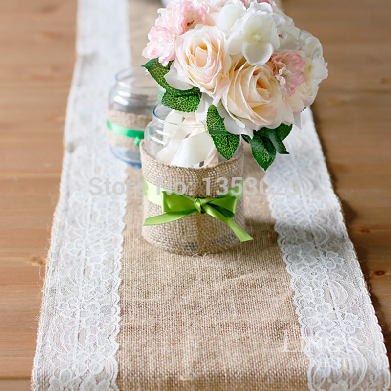 5pcslot 35x200cm Wedding Table Runner Vintage Burlap Lace Hessian Jute Country Party Adornment