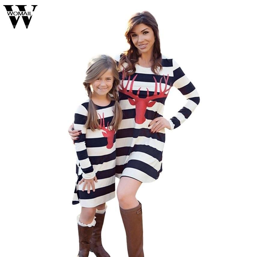 Womail «Мама и я» для девочек женское платье 2017 Рождественский олень платья платье в полоску с длинными рукавами Семья наряды Vestidos OT24