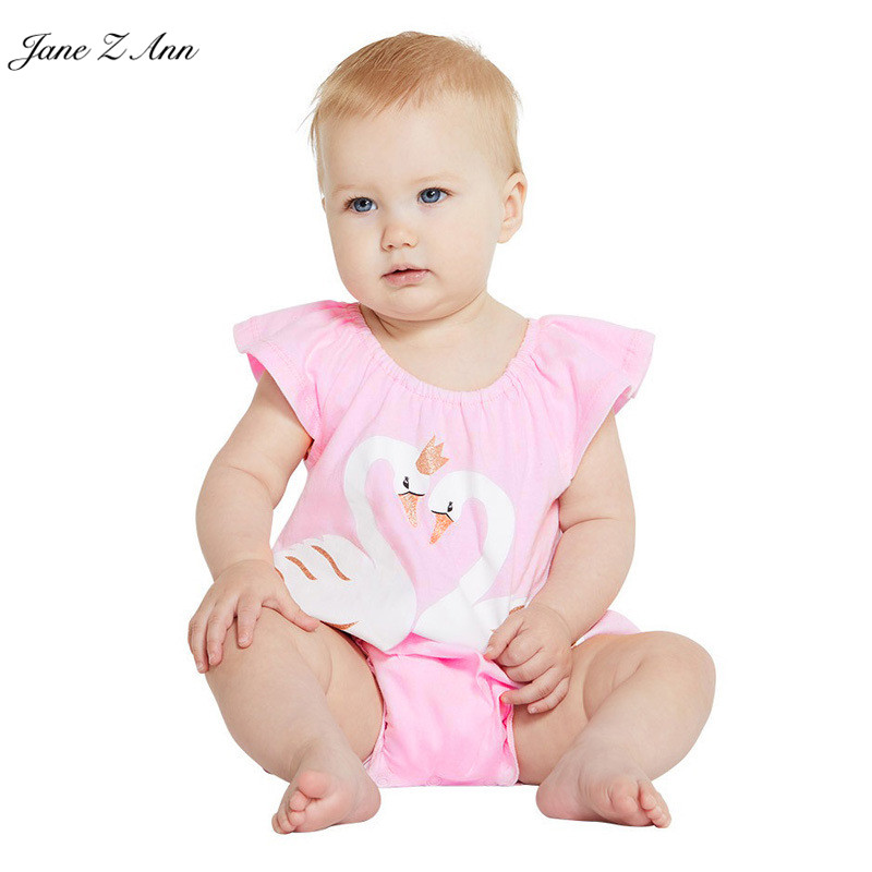 Jane Z Ann girls rompers pink short sleeve summer cotton pink swan rompers infant toddler girl jumpsuit baby girl onesie 2018