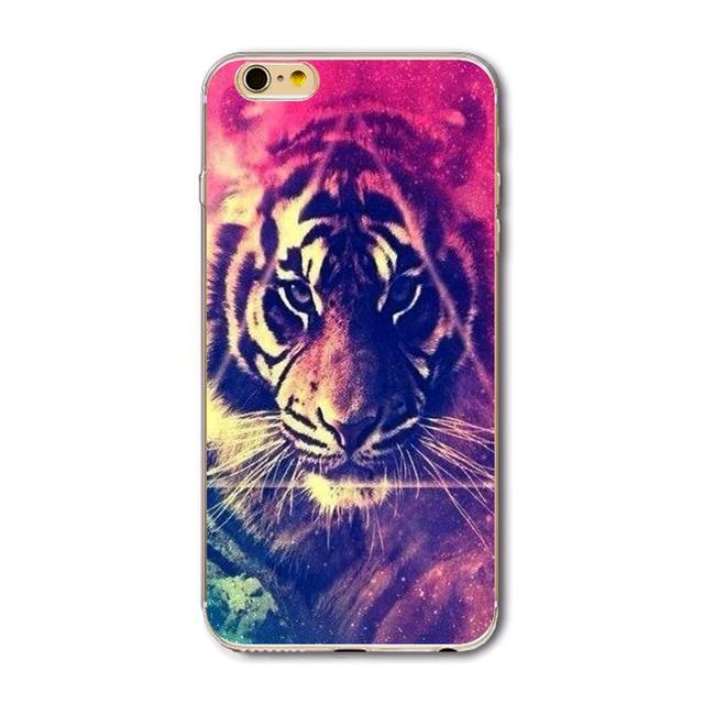 Fashion Tiger Leopard Case For iPhone 7 6 6S 5 5S SE 7Plus 4 4S Soft  Silicone Cover Fundas Celular