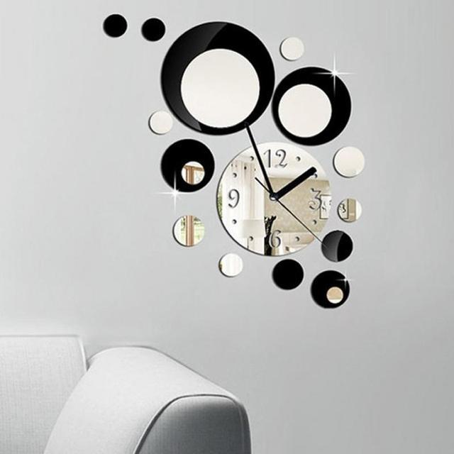 dcoratif coller horloge diy acrylique miroir cercles horloges murales moderne maison amovible sticker art dcor autocollant