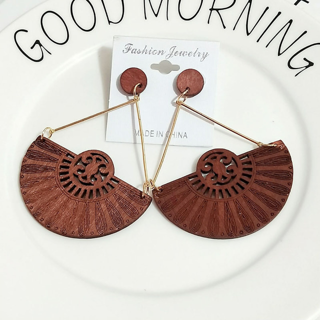 Gold Engraved Coffee Wood Flower Fan Africa Bars Afro Earrings Vintage African Jewelry Wooden DIY Hollow.jpg 640x640 - Gold Engraved Coffee Wood Flower Fan Africa Bars Afro Earrings Vintage African Jewelry Wooden DIY Hollow Out Tribal Accessories