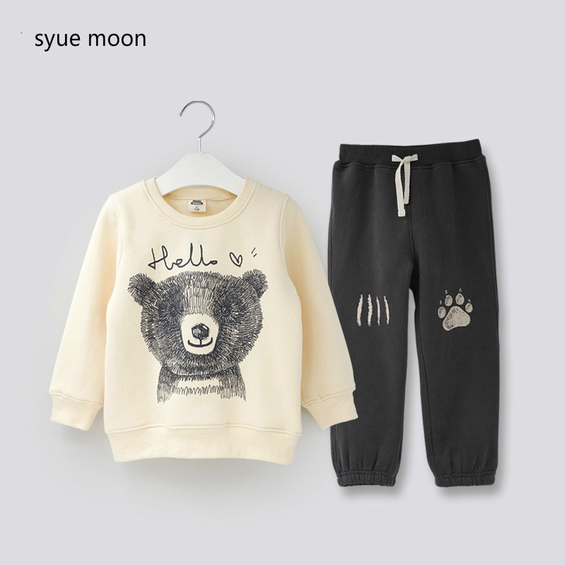 Autumn Winter Boys Clothes Sets Kids Cute Bear Pattern Sweatshirt + Cartoon Pants Children Girls Warm High Quality Clothing Set autumn winter girls children sets clothing long sleeve o neck pullover cartoon dog sweater short pant suit sets for cute girls