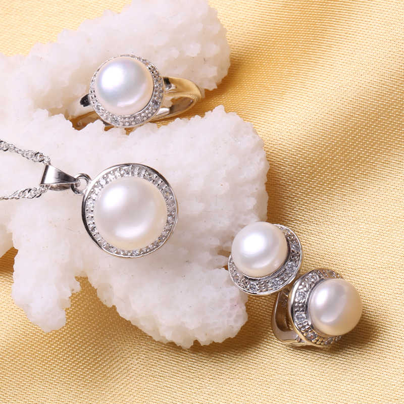 FENASY S925 Sterling Silver Pearl Necklace Set Clip Earrings Fashion Jewelry Ring Boho Freshwater Pearl Jewelry Sets For Women