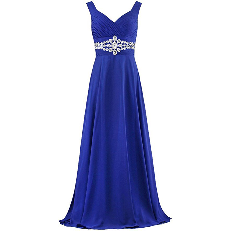 Ameision Real Photos Long Evening Dresses V neck Pleats Chiffon 2019 Elegant Women Formal Party Gowns Cheap vestido de noite in Evening Dresses from Weddings Events