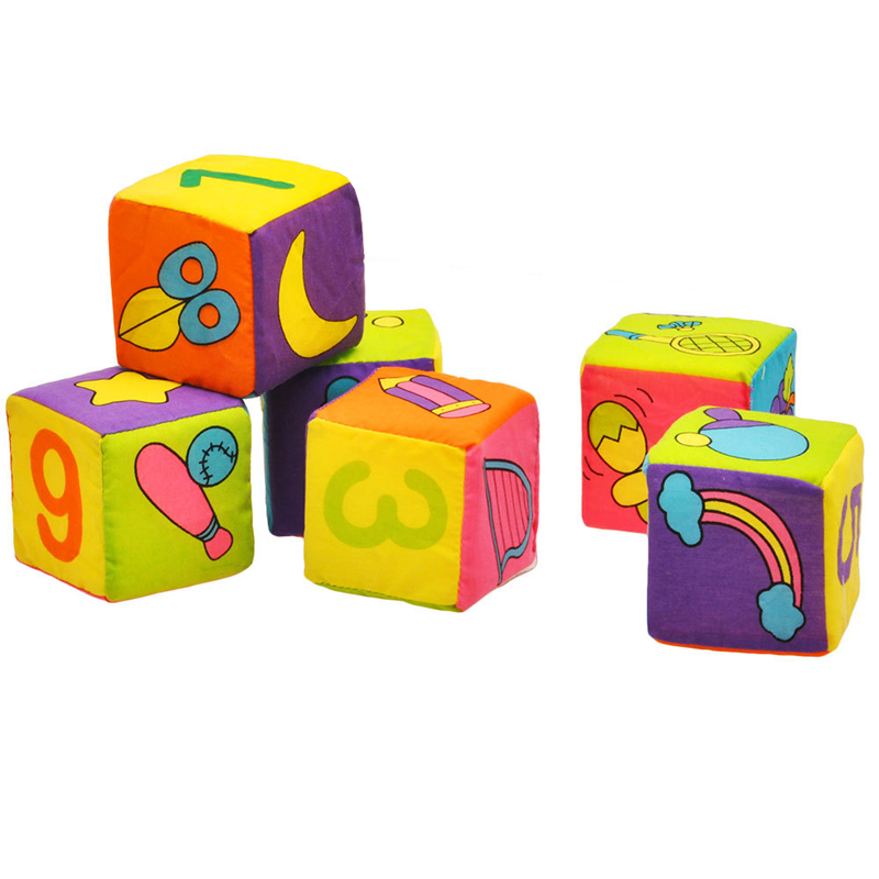 6Pcs/Set Baby Cloth Blocks Digital/Fruit/Sport Pattern Activity Cloth Baby Toys 0-12 Months Soft Educational Rattles Cube Toy