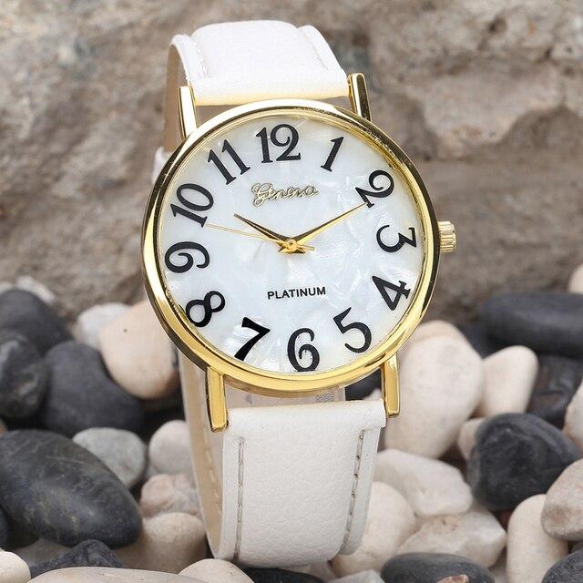 Hot Fashion femmes montres gros numéros rétro en cuir femmes montre-bracelet pour vieil homme et enfant arabe montre Top femme cadeaux # A