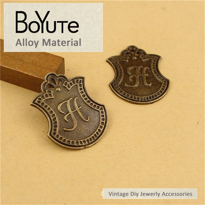 BoYuTe (60 Pieces/Lot) 30*23MM Zinc Alloy Antique Bronze Plated Metal Word H Plated Diy Pendant Jewelry Findings Components