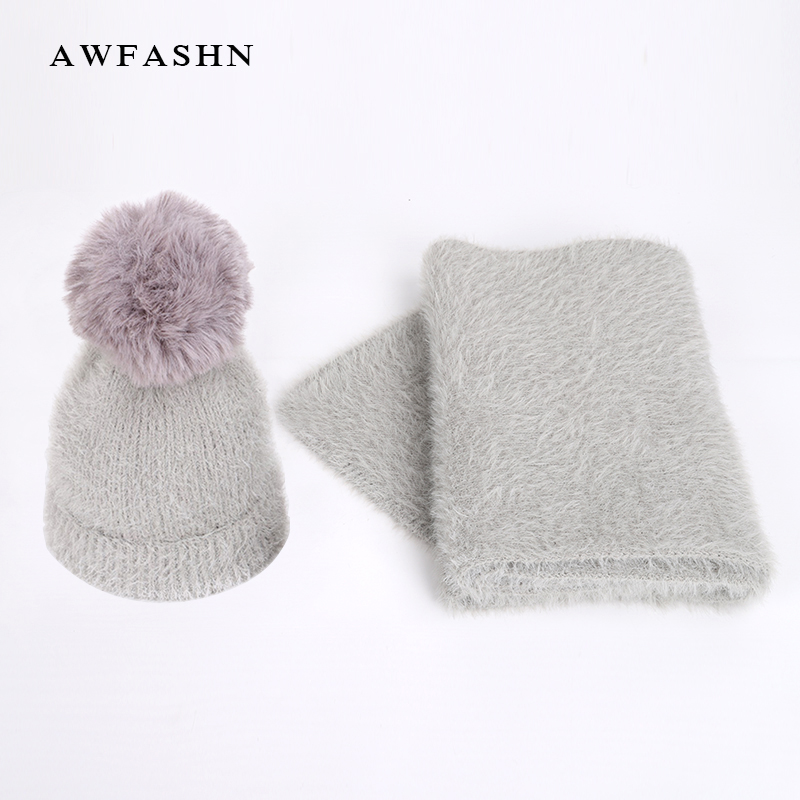 2019 New Angora Wool Knit Scarf Beanies Hat 2 Pieces Set  Winter Warm Parent-child Wear Adults Children Women Kids Girl Soft Cap