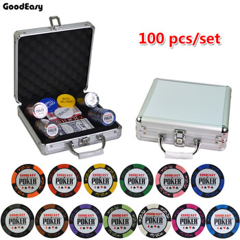 14g Clay Poker Chips Set With Aluminum Suitcase Casino Wheat Poker 14 Color Texas Hold'em Cheap Factory Price