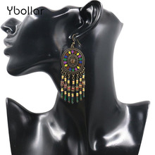Long Earrings For Women Fashion Bohemian Beads Fringe Tassel Pendant Drop Dangle Hook Earrings Ethnic Jewelry недорого