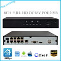 8CH Onvif Full HD 1080 P 48 V PoE NVR Red Grabador de Vídeo para Cámaras IP PoE P2P Cloud Service xmeye POE NVR con Menús Del Panel
