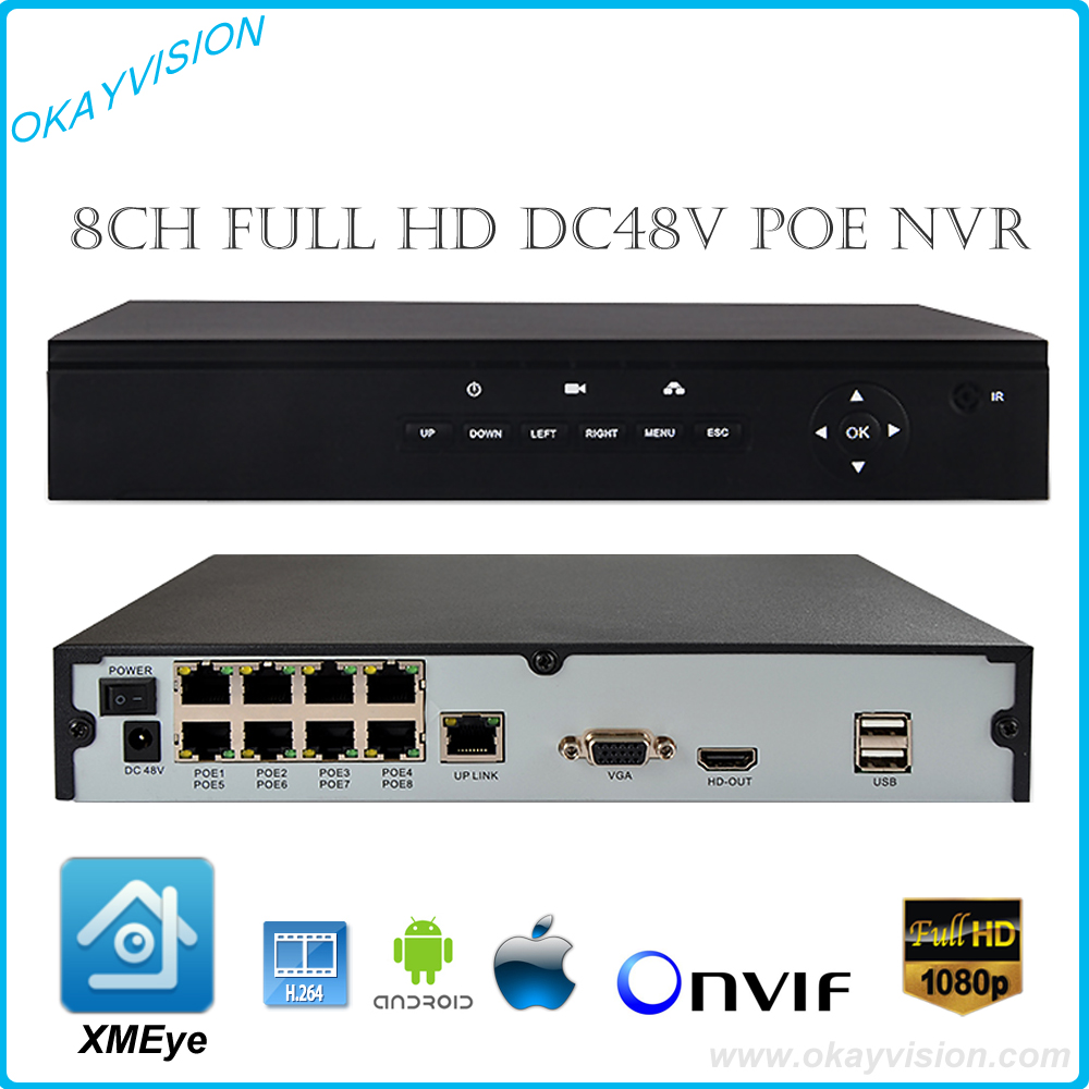 8CH Onvif Full HD 1080P 48V PoE NVR Network Video Recorder for PoE IP Cameras P2P Cloud Service xmeye POE NVR with Panel Menus free shipping 1080p array ip cameras 8ch onvif full hd 48v real poe nvr p2p cloud service