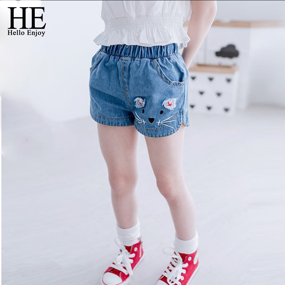 girl shorts kids denim shorts 2017 summer fashion cat embroidery stretch waist jeans for 3-8T children denim shorts for girl