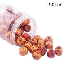 50pcs Mixed Round Ball Wooden Spacer Beads Large Hole DIY Accessory Jewelry Making Shape Bead for Handmade New