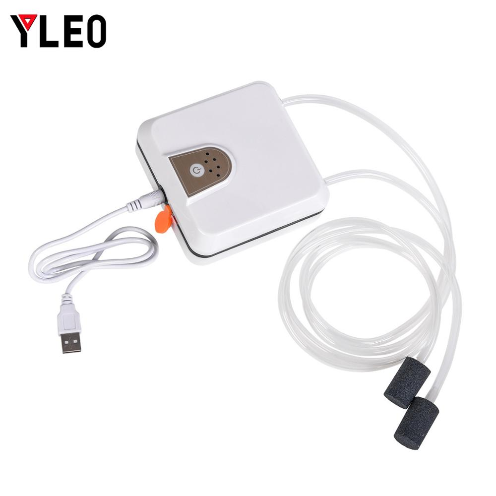YLEO Air Pump Aquarium Fish Tank Usb Charging Outdoor Oxygen Pump Ultra Silent Air Compressor For Aquarium Fish in Fishing Tools from Sports Entertainment