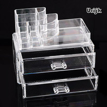 Plastic Clear Makeup Organizer Brushes Holder Storage Box Lipstick Display Women Home Cosmetic Makeup Rack 2 Layers Drawer