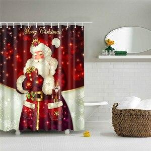 Image 4 - 180*180cm Waterproof Shower Curtain for Bathroom Christmas Print Bathtub Curtains Decoration Polyester Bath Curtain 1PC