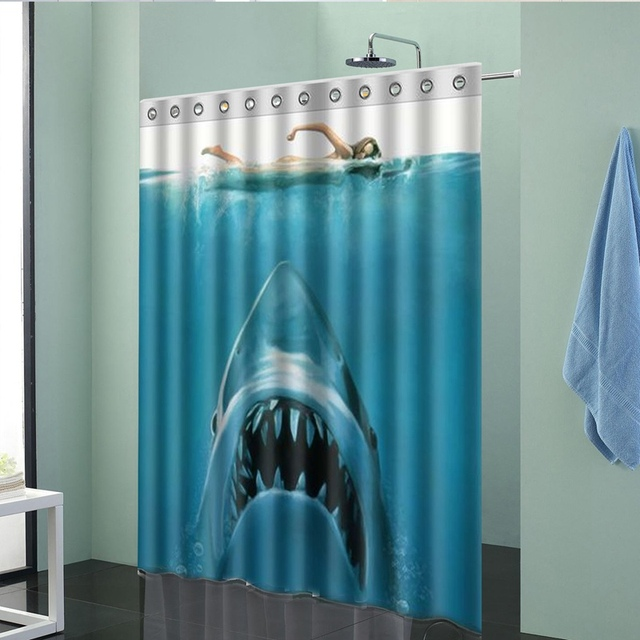 Hot Sale 150x180cm Shark Underwater Jaws Theme Polyester Waterproof Bath  Shower Curtain With Hooks